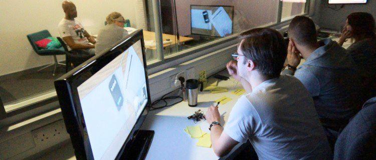 Usability testing lab with one-way glass