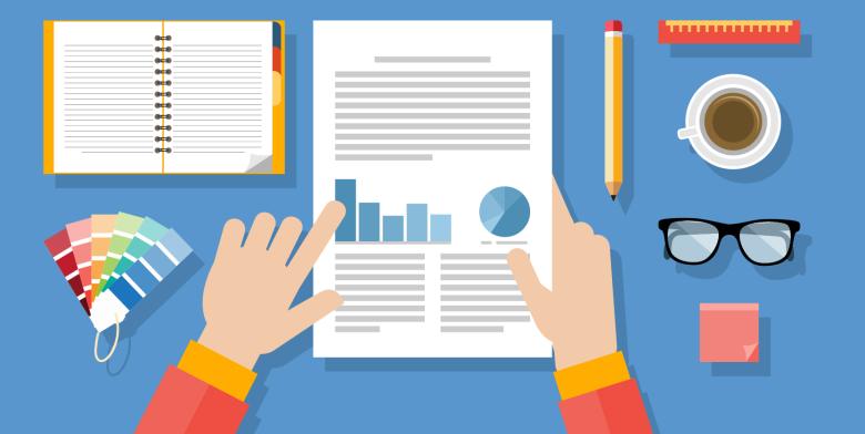 Illustration of a designer reading a report