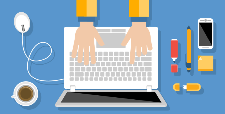 Illustration of designer working on a laptop